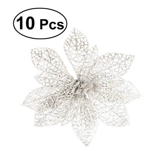 Winomo fiori artificiali per la decorazione albero di natale fiori glitter d'argento (10pcs)