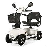 ACEDA Älterer Roller,Elektromobil,Faltbarer Elektrischer Roller, Behindertes Älteres Vierrädriges Elektrofahrzeug,Elektroroller,Belastbarkeit 140Kg,White