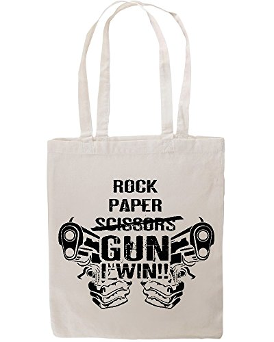Rock Paper Scissors Gun Win Funny Tote Shopping Bag