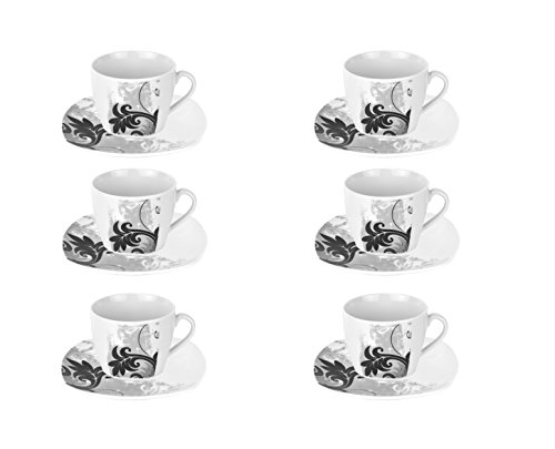 Van Well Black Flower-Juego de café 6tazas con 6platillos-porcelana blanca con negro Decor