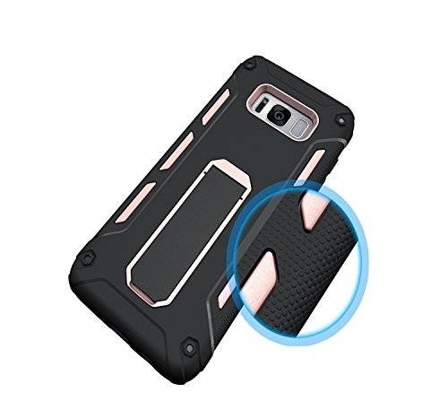 YHUISEN Galaxy S8 Case, Cool Shockproof Rüstung Hybrid 2 In1 TPU und PC Robuste Dual Layer mit Kickstand Fall für Samsung Galaxy S8 ( Color : Rose Gold ) Rose Gold