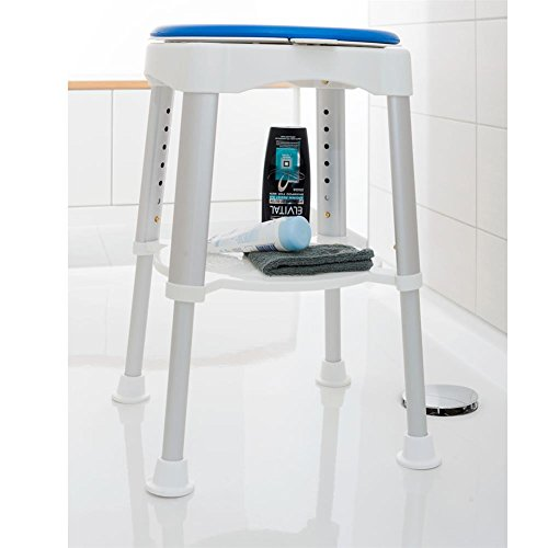 HC Handel 936094 Dusch-Stuhl aus Aluminium höhenverstellbar drehbar weiß/silber