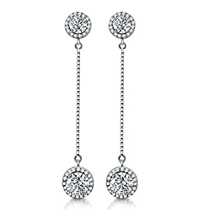 AMYJANE 14K White Gold Plated Round Diamond Cut Earrings Spindly Chain Connect