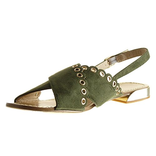 Angkorly Damen Schuhe Sandalen - Offen - Perforiert - Nieten - Besetzt Flache Ferse 1.5 cm Grüne