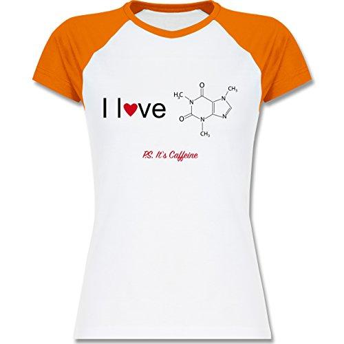 Nerds & Geeks - Strukturformel Koffein- I love Caffeine - zweifarbiges Baseballshirt / Raglan T-Shirt für Damen Weiß/Orange