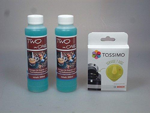 Pflegeset für Tassimo Kapselmaschinen - 2x 250ml JUMA Two in One - Reiniger und Bosch T-Disc /...