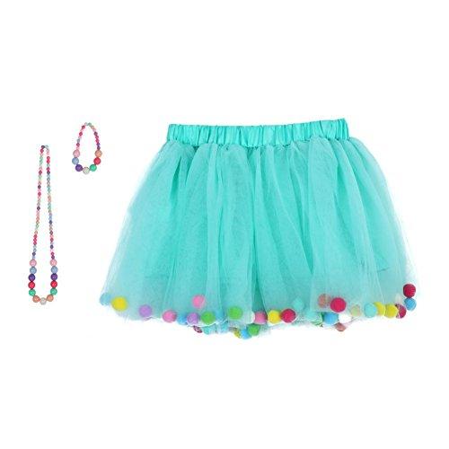 Wingbind Mädchen Little Girls 4 Layered Tutu Rock 3D Pom Pom Puff Bälle mit Passender Farbe Halskette und - Niedliche Kleine Mädchen Kostüme Für Halloween