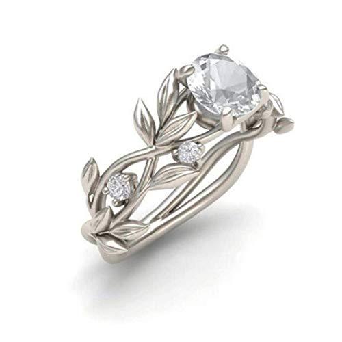 Gaddrt Eheringe Damen Blumen Diamant Blume Weinblatt Silber Ringe Hochzeit Geschenk, Silber, 8