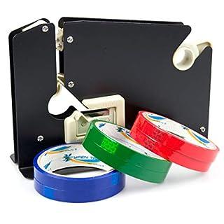 Metall-Plastiktüten-Versiegelungsgerät mit Schneider, Klebeband-Spender, handgehalten, inkl. 6 Rollen. Schwarz