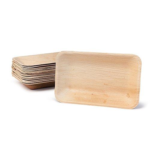 BIOZOYG DTW05319 Assiette jetable en feuille de palmier, 25 pièces, carrée, creuse, 25x15 cm, compostable