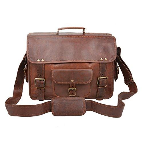 Desert Town Vintage handgearbeitet Verstellbarer Riemen echtem Leder braun Laptop Tasche 16 (Handtasche Eimer Leder Echtem Aus)
