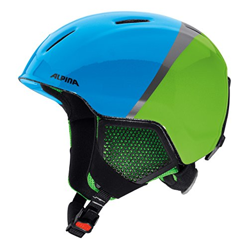 ALPINA Kinder Carat LX Skihelm, Green-Blue-Grey, 51-55 cm