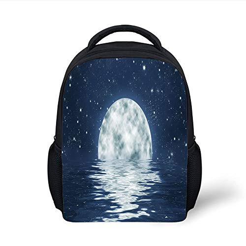 Kids School Backpack Moon,Moon Setting Over The Sea with Waves Night Sky with Stars End of The Evening Decorative,Night Blue White Plain Bookbag Travel Daypack -