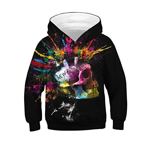 ALISISTER 3D Kapuzenpullover Sweatshirt Hoodie Kinder 3D Schädel Gedruckt Herbst Winter Langarm Pullover Shirts Black S Schädel-sweatshirt