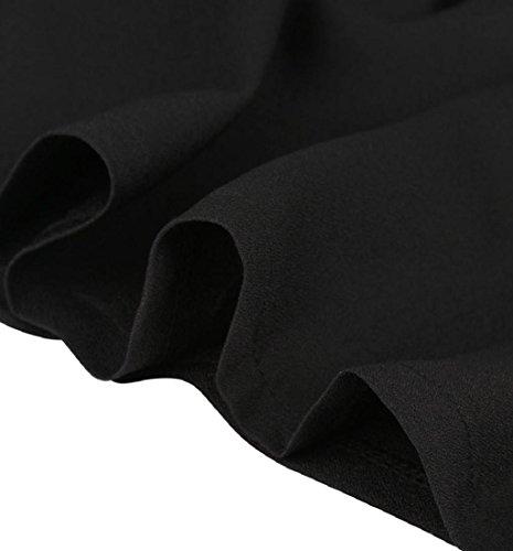 Rcool Frauen Mode schwarzen Rock mit Schulterriemen plissiert Mini Kleid Schwarz (XXL) -
