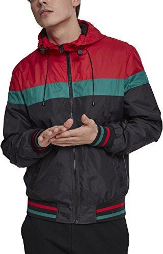 Urban Classics Herren Jacke College Windrunner, Mehrfarbig (Black/Fire Red/Green 01339), Medium (Herstellergröße: M)