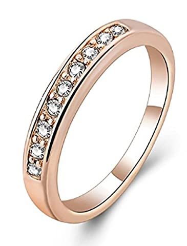 SaySure - Rings 18K Rose Gold Plated Simple Clear (SIZE : 8)