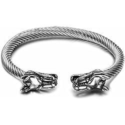 DBG Pulsera de acero inoxidable para hombre, diseño de dragón vikingo, ajustable, brazalete abierto, color plateado, plata