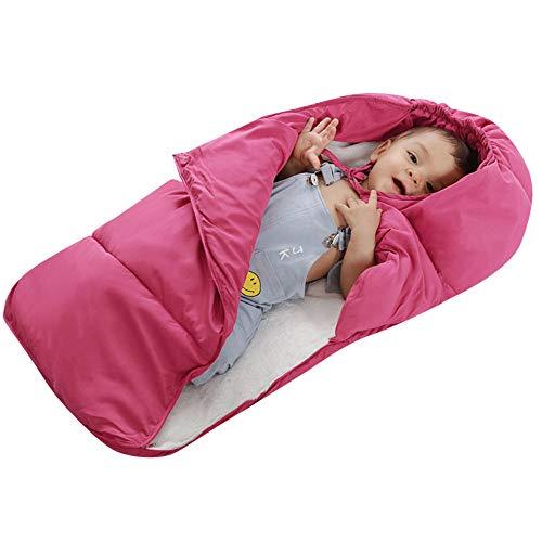 Baby Winter Warm Flausch Schlafsäcke Reißverschluss Swaddle Decke Mit Kapuze Kinderwagen Pucktücher Schlafen Sack für 0-24 Monat Kinder Soft Babydecken Sicherheitsdecken (M (0-12 Monat), Pink)