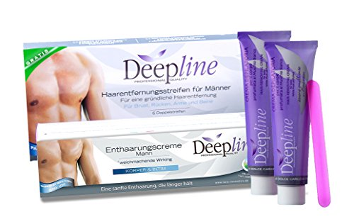 Deepline praktisches Enthaarungsset für Männer mit 2 Enthaarungscremes PLUS GRATIS Kaltwachsstreifen zur Enthaarung im Brust, Intim, Nacken, Achsel und Rückenbereich.