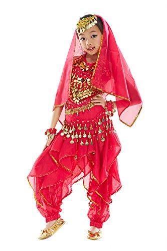 BELLYQUEEN Mädchen Bauchtanz Kleidung Tanzkleid Kinder Ägypten Indische Tanz Outfits 7 Stücke - Tanz Performance Kostüm Mädchen