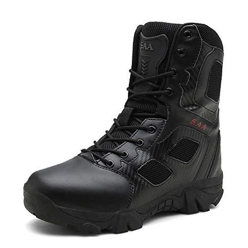 CFPPX Outdoor-Militärstiefel taktische Stiefel lassen rutschfeste Wanderschuhe frei,Black,45