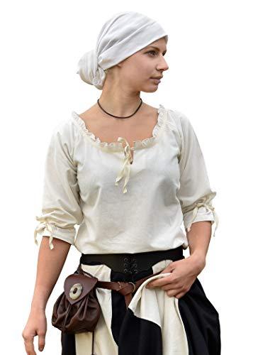 Battle-Merchant Mittelalter Bluse Birga aus Baumwolle mit 3/4 Arm - Mittelalter Kleidung Damen weiß (X-Large, Natur)