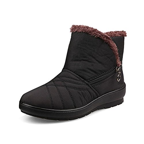 Gaatpot Womens Fur Lining Winter Warm Snow Boots Comfy Flats Waterproof Non-Slip Ankle Short Boots Low Heel Boots Shoes Size