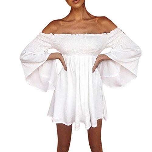 Short Mini Kleid Damen Cocktailkleid Langarm Kleid Elegant aus Shoulder Party Kleid Mini Kleid Off Schulter Loose Kurzarm Abendkleider LianMengMVP