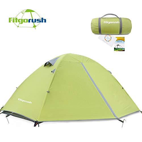 Fitgorush Tenda da Campeggio 2 Posti Persone Impermeabile, 3 Stagioni Tenda Leggera Trekking con Borsa per Il Trasporto, Tenda Montagna per Famiglia, Giardino, Campeggio, Trekking
