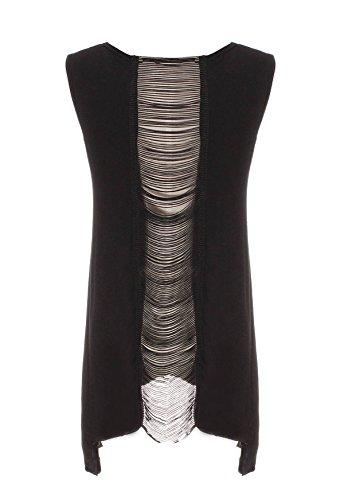 ZANZEA Sexy Femme Crâne Top Haut Gilet Dos Nu Sans Manche T-shirt Caraco Débardeur Noir