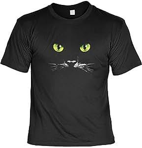Katzen Katzenaugen Motiv T-Shirt : Schwarze Katze - T-Shirt bedruckt