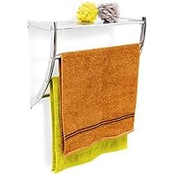 Relaxdays 10020133 Étagère porte-serviette murale salle de bain toilette serviette acier chromé HxlxP 43 x 56 x 23 cm rangement Argenté