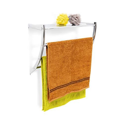 Relaxdays Wandhandtuchhalter Chrom HxBxT: ca. 43 x 56 x 23 cm Handtuchhalter zur Wandmontage mit 3 Handtuchstangen und Ablagefläche als Badregal oder kleine Wandgarderobe aus verchromtem Stahl, silber -