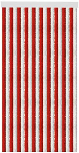 Arsvita Flausch-Vorhang (90x195 cm) in der Farbe: Rot-Weiß, Weitere Größen erhältlich