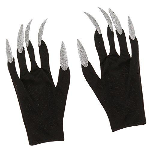 MagiDeal Schwarz Handschuhe mit Lange Silber Fingernägel Hexen Kostüm für Halloween Karneval Cosplay
