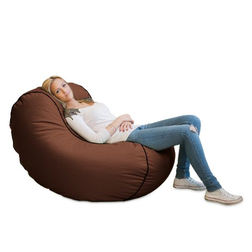 Lumaland Luxury Lounge Chair Sitzsack stylischer Beanbag 320L Füllung verschieden Farben Braun