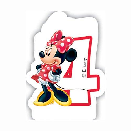 Kuchen- oder Torten-Kerze * MINNIE MAUS * mit der Zahl 4 für Kindergeburtstag // Mouse Vier (Mickey Geburtstag Zahl)