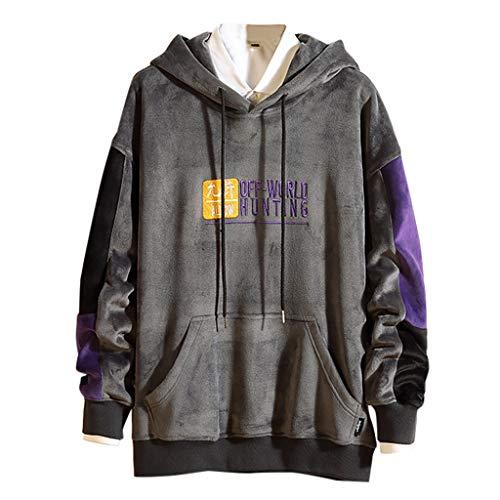 Fenverk Herren Basic Kapuzenpullover Sweatjacke Pullover Hoodie Sweatshirt Streetwear Drew Peak Plv Hood Jacob - Große Tasche(A Grau,XXL)