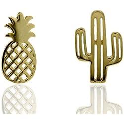MY ME JEWELS Pendientes plata mujer, niña, asimétricos piña y cactus chapados oro. Cierre de presión