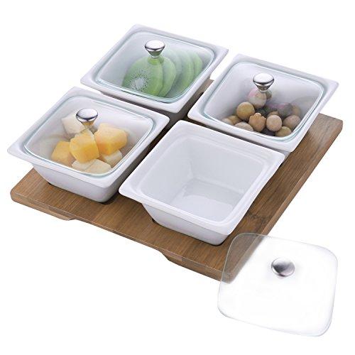 Weiß Keramik Relish Servieren Schüssel-Set mit Glas Deckel & Bambus Tablett, 4Stück -