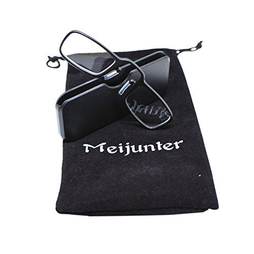 Meijunter Neue Mini Reading Gläser Clip Nase Presbyopic Gläser Mit Etui Geldbörse Eyewear (Stärke:+1.5)