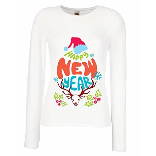 Weibliche langen Ärmeln T-Shirt Frohes neues Jahrferienhemd Weiß Mehrfarben