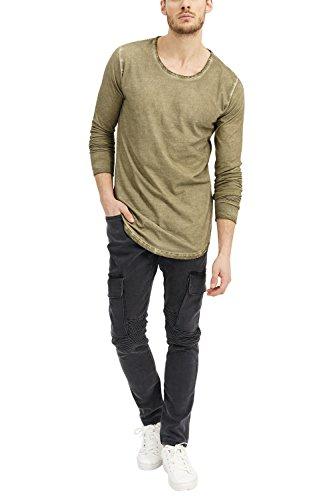 trueprodigy Casual Herren Marken Long Sleeve Einfarbig Basic, Oberteil Cool und Stylisch mit Rundhals (Langarm & Slim Fit), Langarmshirt für Männer in, Größe:L, Farben:Khaki