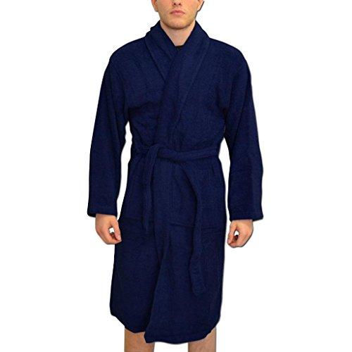 Peignoirs de Bain Personnalisés Hommes Robes de Chambre Cadeaux Nom Brodés de Couleur navale Taille L-XL