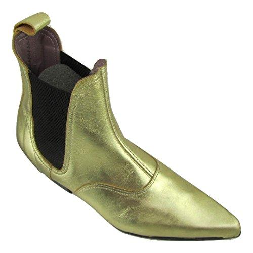 Unbekannt Retro of London Hand Made Herren Beatle Beat Stiefel Chelsea Gold Leder Spitz Zulaufender Zehenbereich Cuban Heel, Gold - Gold - Größe: 44 -