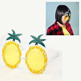 SODIAL(R) Lunettes de soleil de forme de l'ananas jaune avec des feuilles vertes