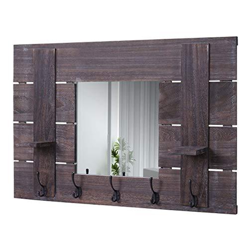 Mendler Wandgarderobe HWC-C89 mit Spiegel, Garderobenpaneel Garderobe, Shabby-Look Vintage, 5 Haken 90x60cm ~ braun, Shabby - Standard-holz-spiegel