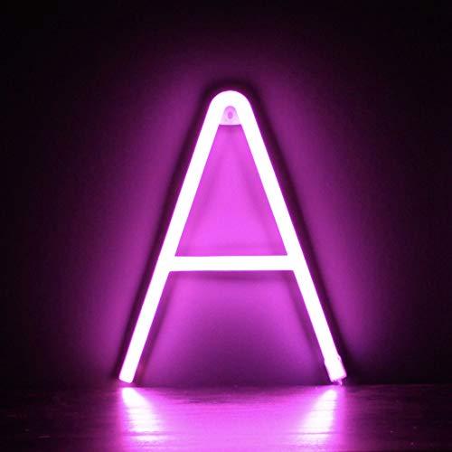 Smiling Faces UK Neon LED Pink Buchstaben Licht Zeichen - Wandbehang batteriebetrieben - Brief A