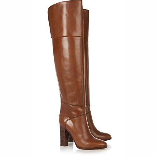 Elobaby Damenschuhe PU Herbst Winter Comfort Stiefel Chunky Heel Runde Kappe Kniehohe Stiefel für Casual Black, Brown, 46 -